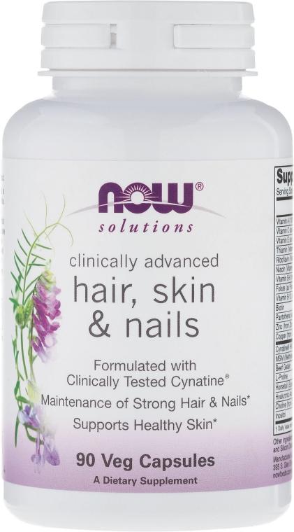 Wegańskie kapsułki na zdrowe włosy, skórę i paznokcie - Now Foods Solutions Hair, Skin & Nails — фото N1