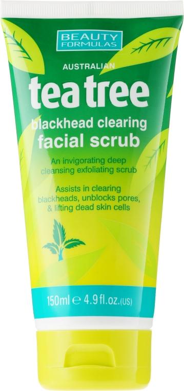 Oczyszczający peeling do twarzy przeciw wągrom Drzewo herbaciane - Beauty Formulas Tea Tree Facial Scrub