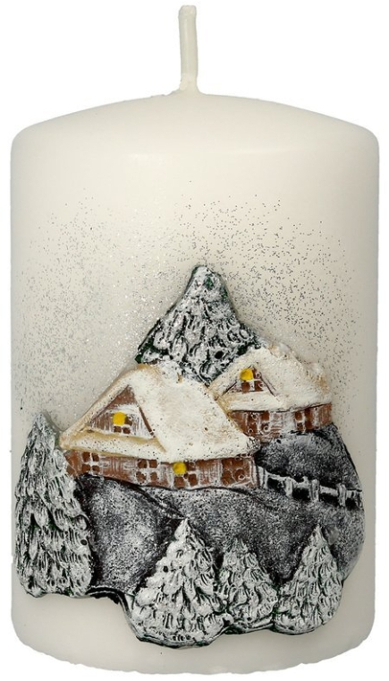 Świeca dekoracyjna Świąteczny domek, 7 x 10 cm - Artman Christmas House Candle  — фото N1