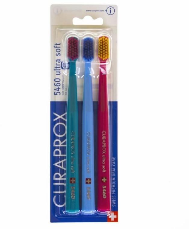 Zestaw szczoteczek do zębów, 5460 Ultra Soft, czerwona + turkusowa + niebieska - Curaprox — фото N1