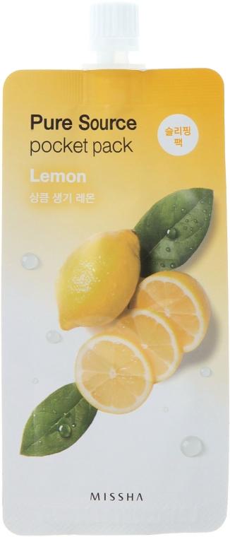 Rozjaśniająca maseczka na noc z ekstraktem z cytryny - Missha Pure Source Pocket Pack Lemon