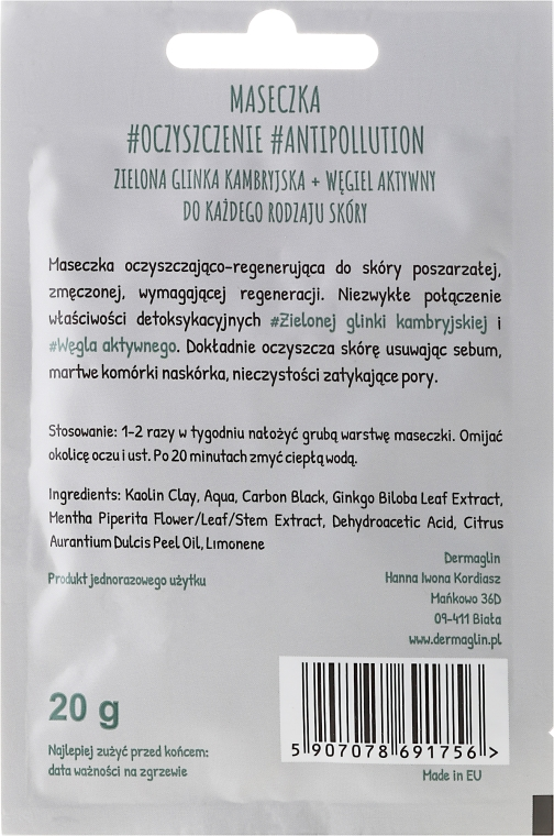 Detoksykująca maseczka do twarzy z zieloną glinką kambryjską - Dermaglin #Oczyszczenie #Antipollution — фото N2