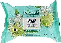Kup Micelarne chusteczki do demakijażu twarzy, oczu i ust Limonka - Bielenda Fresh Juice