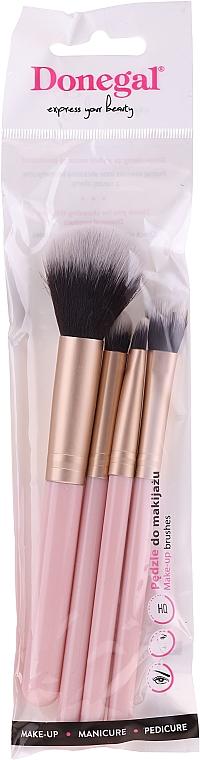 Zestaw pędzli do makijażu, 4 szt, różowe - Donegal