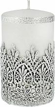 Kup Świeca ozdobna koronkowa, szara, 7x10 cm - Artman Lace Christmas