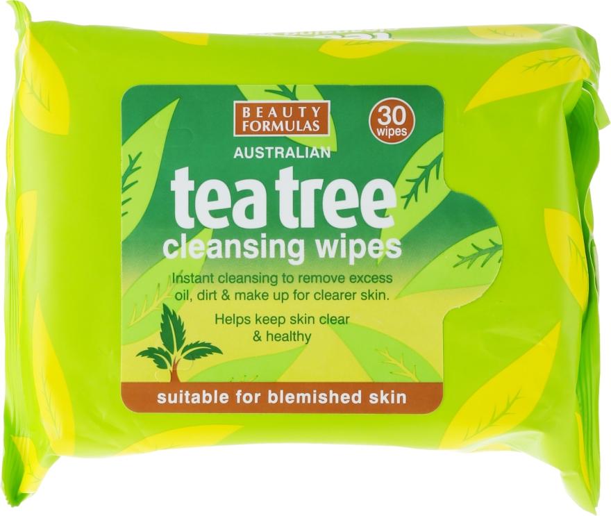 Oczyszczające chusteczki do twarzy - Beauty Formulas Tea Tree Cleansing Wipes