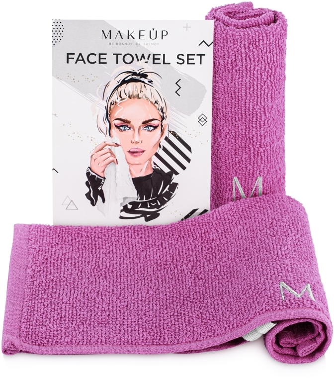 Podróżny zestaw liliowych ręczników do twarzy MakeTravel - Makeup
