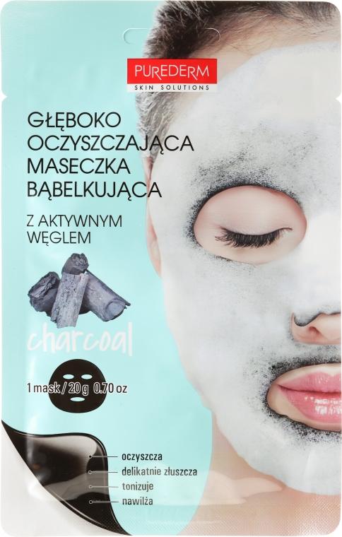 Głęboko oczyszczająca maska bąbelkowa do twarzy - Purederm Deep Purifying Black O2 Bubble Mask Charcoal