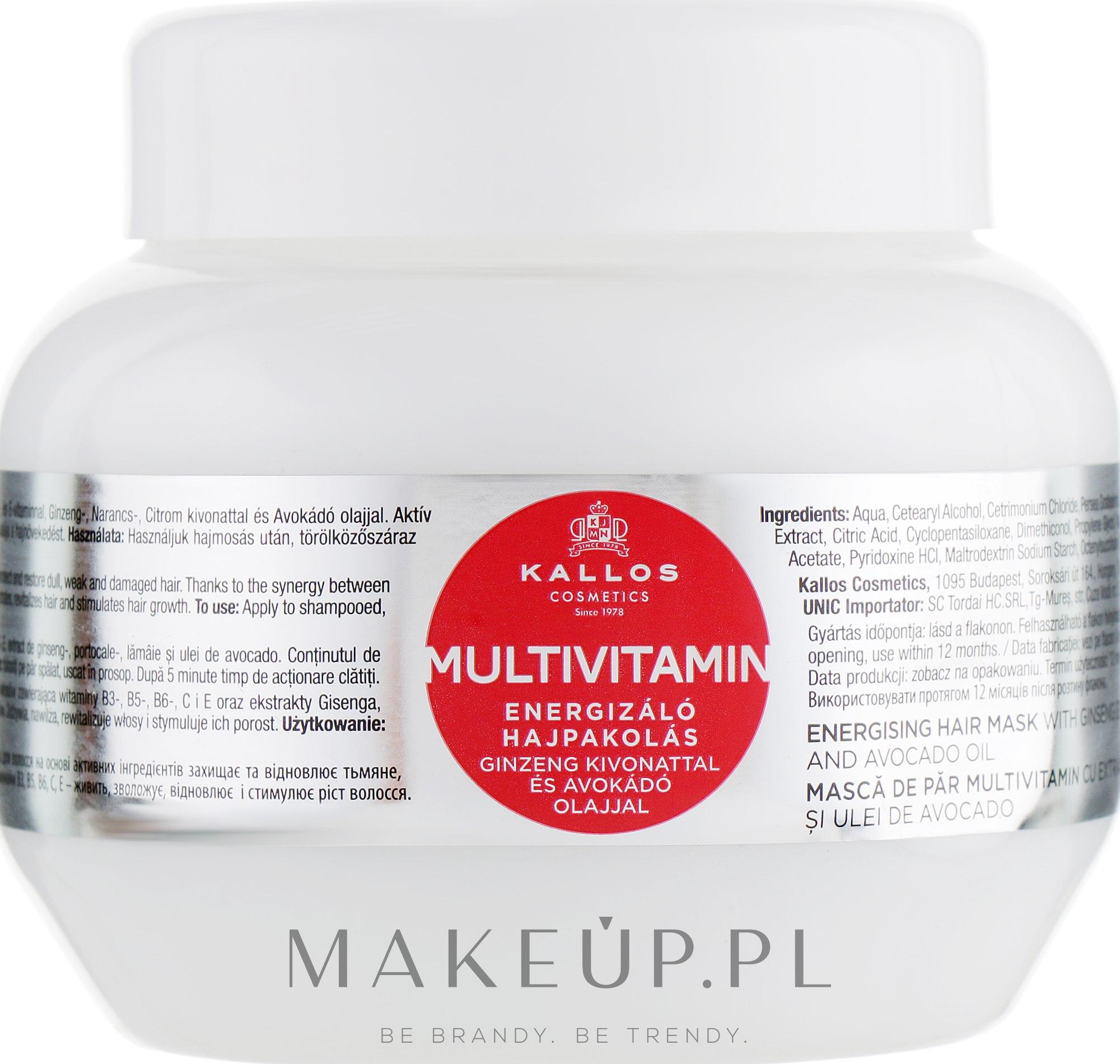 Multiwitaminowa energizująca maska do włosów z ekstraktem z żeń-szenia i olejem z awokado - Kallos Cosmetics Energising Hair Multivitamin — фото 275 ml