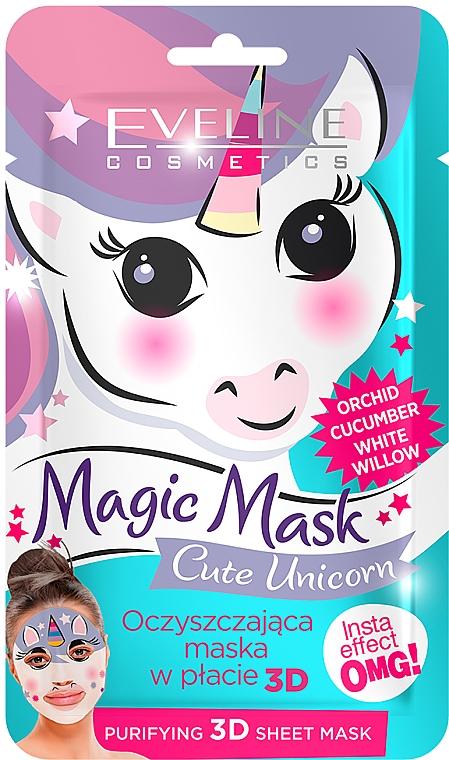 Oczyszczająca maska w płacie 3D - Eveline Cosmetics Magic Mask Cute Unicorn