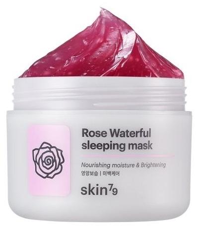 Odżywczo-nawilżająca różana maska rozświetlająca na noc do twarzy - Skin79 Rose Waterful Sleeping Mask