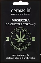 Kup Maseczka do cery trądzikowej dla mężczyzn z olejem konopnym i zieloną glinką kambryjską - Dermaglin Natural Product For Men
