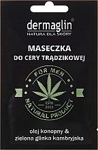 Maseczka do cery trądzikowej dla mężczyzn z olejem konopnym i zieloną glinką kambryjską - Dermaglin Natural Product For Men — фото N1