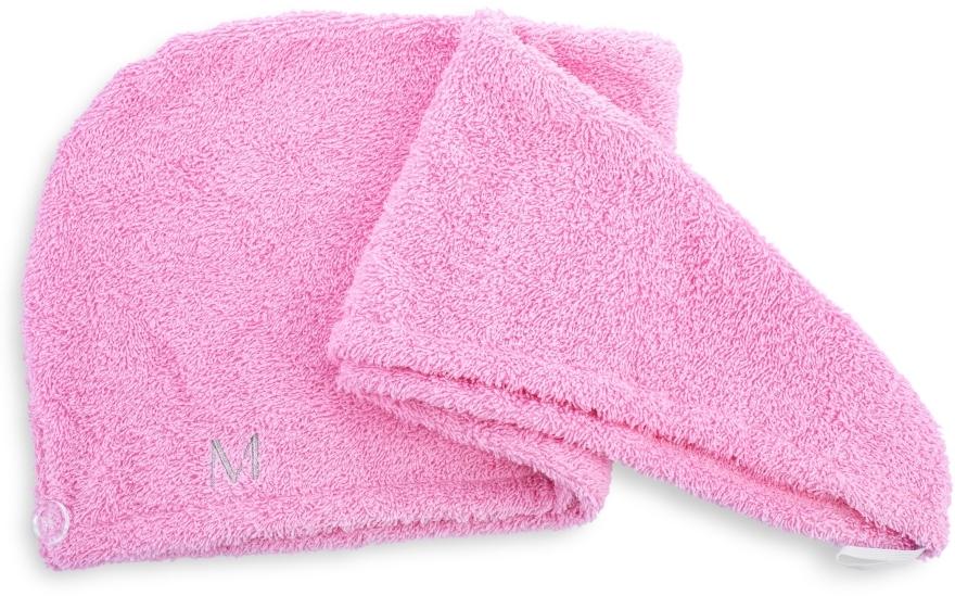 Różowy ręcznik-turban do włosów (68 x 26 cm) - Makeup