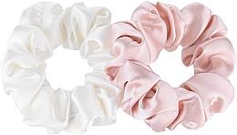 Kup Zestaw gumek-schrunchie do włosów z naturalnego jedwabiu, biała i różowa Midi - Makeup