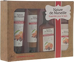 Kup Zestaw kosmetyków o zapachu pomarańczy i żurawiny - Nature de Marseille (lot 150 ml + sh/gel 100 ml + h/cr 60 ml + soap 90 g)