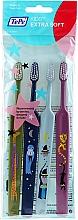 Kup Zestaw szczoteczek do zębów dla dzieci, bardzo miękkie, zielona + niebieska + niebieska + różowa - TePe Kids Extra Soft