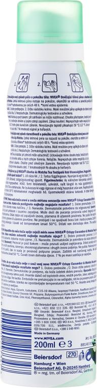 Lekki mus do pielęgnacji ciała do skóry suchej Ogórek i herbata matcha - Nivea Body Mousse Fresh Cucumber & Matcha Tea — фото N2