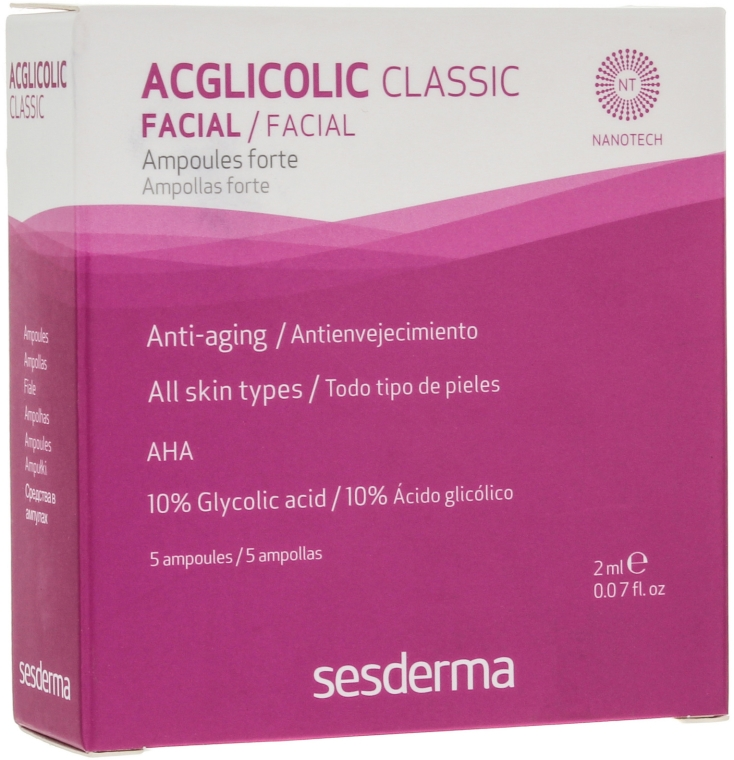 Intensywna kuracja przeciwstarzeniowa w ampułkach z kwasem glikolowym - SesDerma Laboratories Acglicolic Classic Ampoules Forte — фото N1