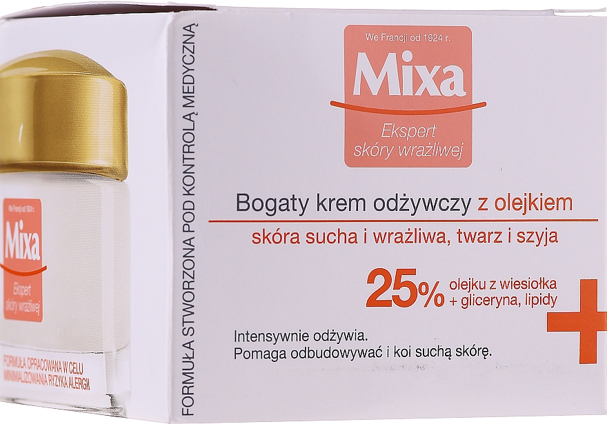 Bogaty krem odżywczy z olejkiem - Mixa Sensitive Skin Expert Rich Nourishing Cream