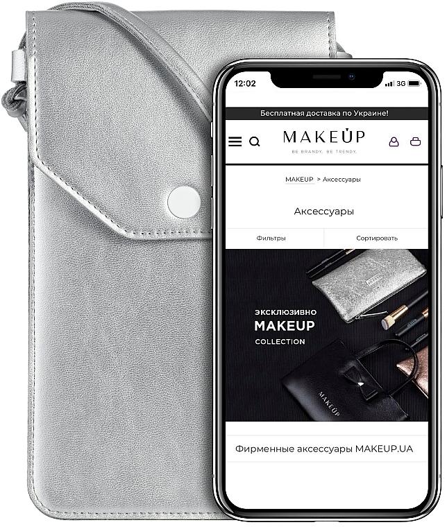 Etui na telefon, srebrne, Cross - Makeup Phone Case Crossbody Silver