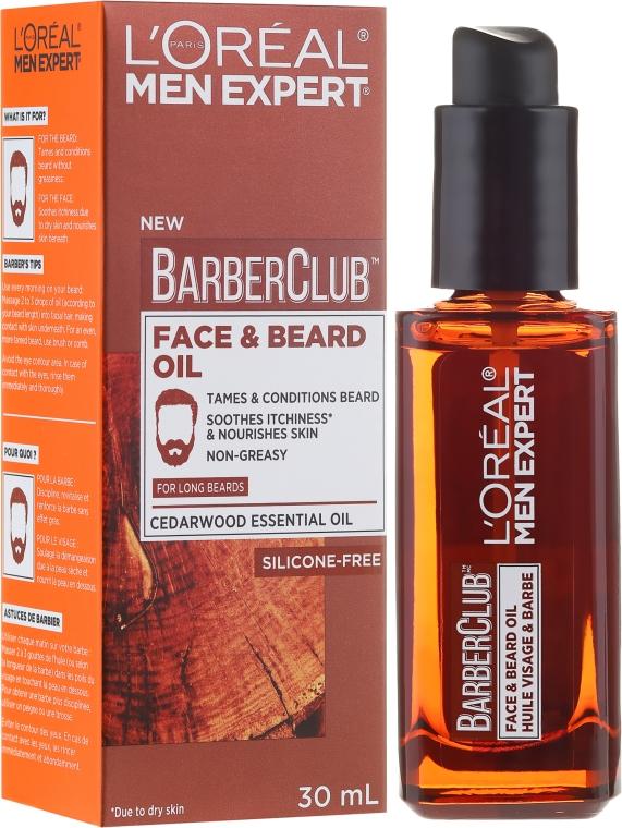 Olejek do twarzy i długiej brody - L'Oreal Paris Men Expert Barber Club Long Beard + Skin Oil