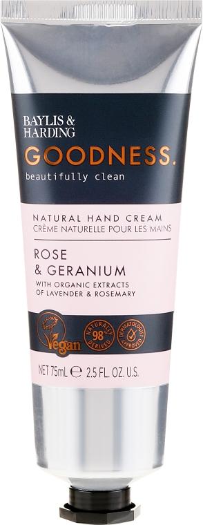 Naturalny krem do rąk - Baylis & Harding Goodness Rose & Geranium Natural Hand Cream — фото N1