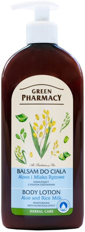 Nawilżający balsam do ciała Aloes i mleko ryżowe - Green Pharmacy
