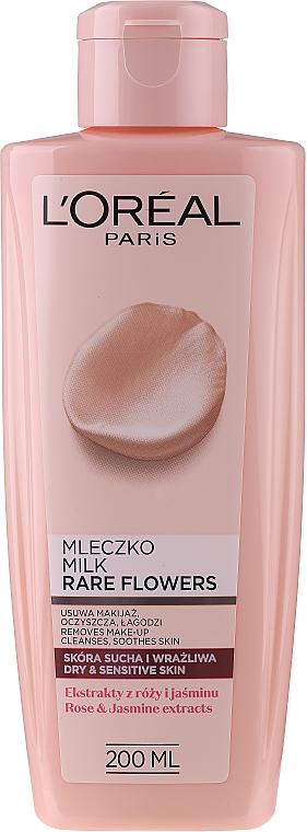 Oczyszczające mleczko do skóry suchej i wrażliwej - L'Oreal Paris Rare Flowers Cleansing Milk Dry And Sensative Skin