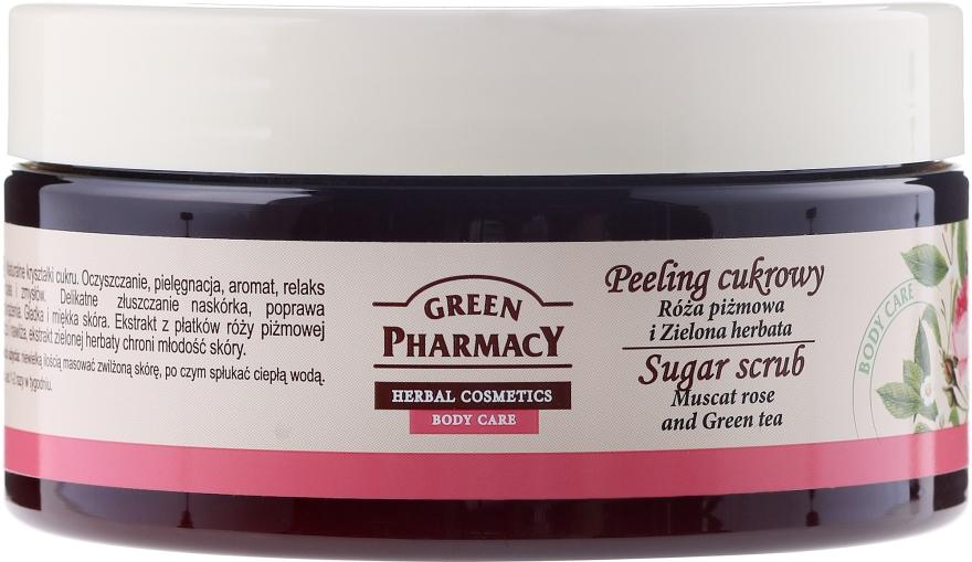 Peeling cukrowy Róża piżmowa i zielona herbata - Green Pharmacy