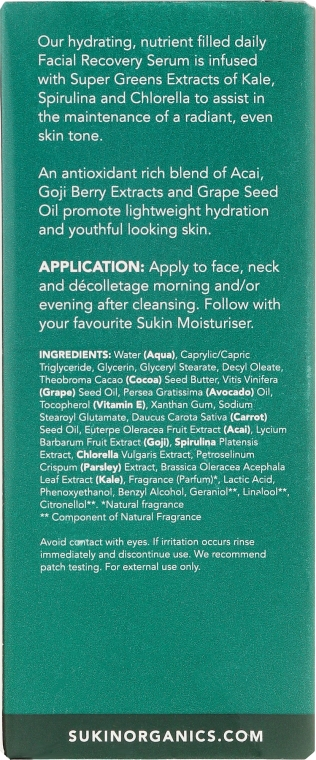 Regenerujące serum do twarzy - Sukin Super Greens Facial Recovery Serum — фото N3