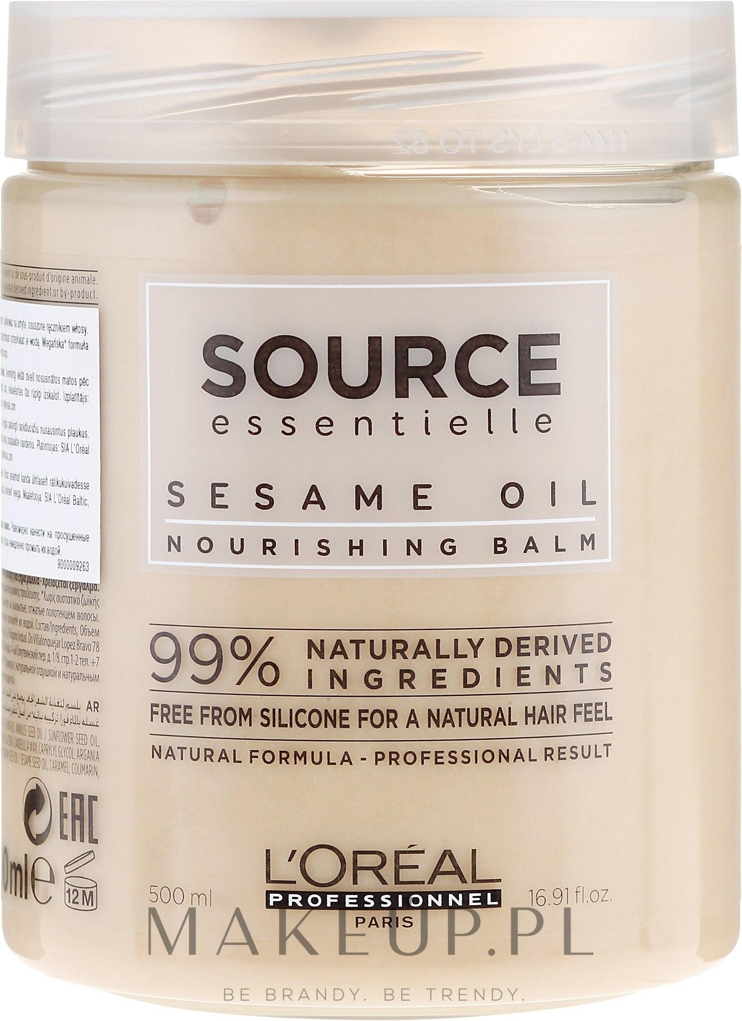 Odżywczy balsam do włosów z olejem sezamowym - L'Oreal Professionnel Source Essentielle Nourishing Balm — фото 500 ml