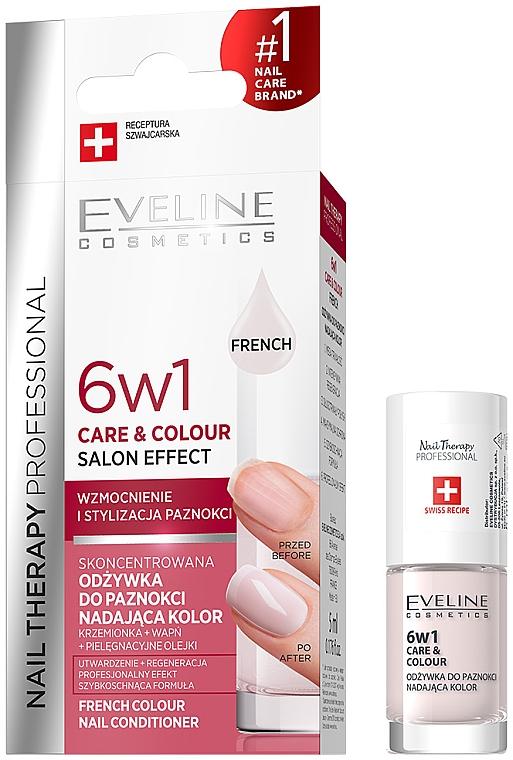 Skoncentrowana odżywka do paznokci nadająca kolor 6 w 1 - Eveline Cosmetics Nail Therapy Professional