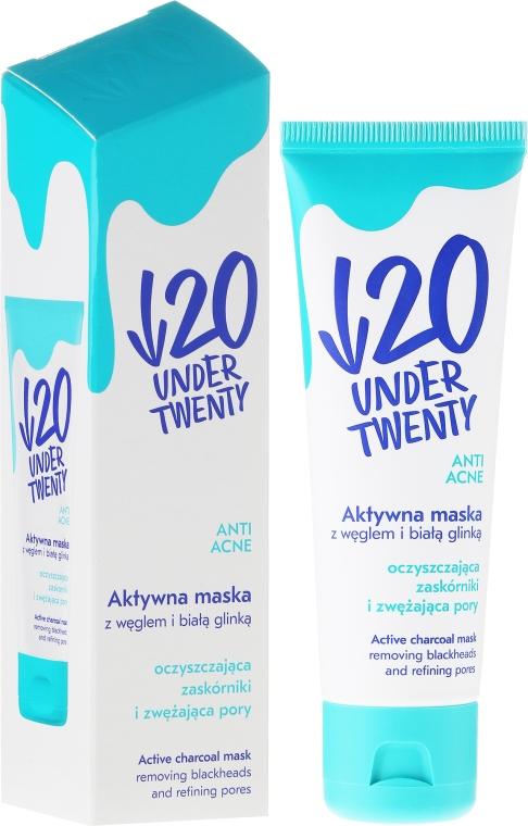 Aktywna maska z węglem i białą glinką do twarzy - Under Twenty Anti Acne — фото N1