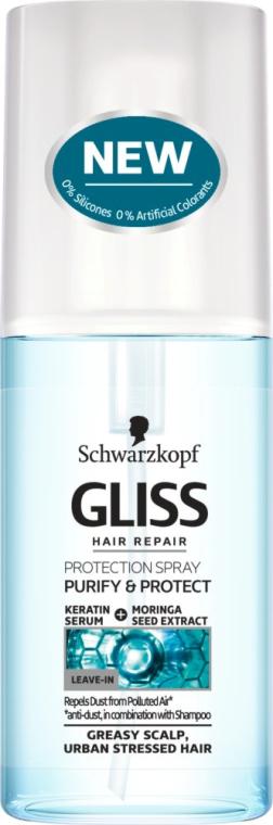 Ochronny spray do przetłuszczającej się skóry głowy i włosów zmęczonych miejskim powietrzem - Schwarzkopf Gliss Kur Purify & Protect Spray — фото N1