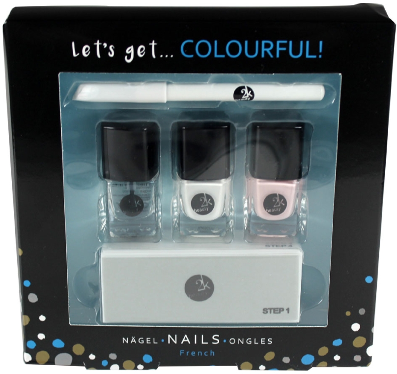 Zestaw do french manicure - Cosmetic 2K Lets Get Colourful Set (polish/3x5ml + pencil/2g + file/1pc) — фото N1
