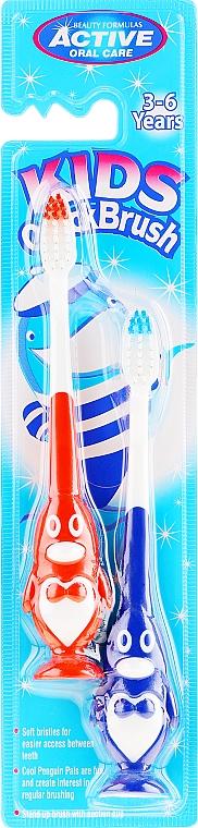 Szczoteczki do zębów dla dzieci 3–6 lat, pingwiny, niebieska i czerwona - Beauty Formulas Kids Quick Brush