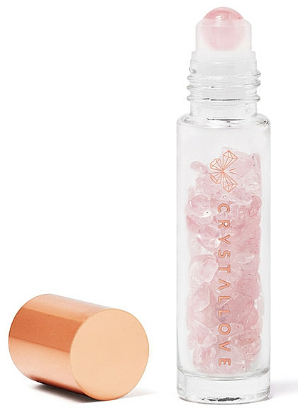 Buteleczka z kryształkami różowego kwarcu na olejek eteryczny (roll-on) - Crystallove