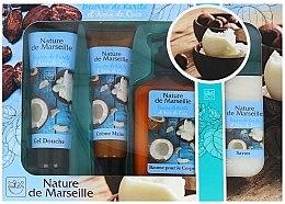 Kup Zestaw kosmetyków o zapachu masła shea i kokosa - Nature de Marseille Cocos (sh/gel 100 ml + cr 60 ml + balm 150 ml + soap 60 g)