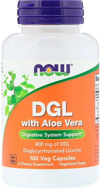 Suplement diety z lukrecją DGL i aloesem, 400 mg - Now Foods DGL With Aloe Vera — фото N1