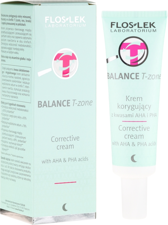 Korygujący krem do twarzy z kwasami AHA i PHA na noc - Floslek Balance T-Zone