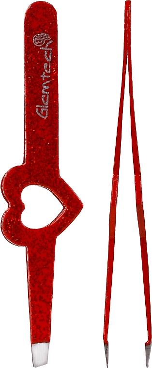 Brokatowa pęseta do brwi, czerwona - Glamtech Valentines Tweezer — фото N2