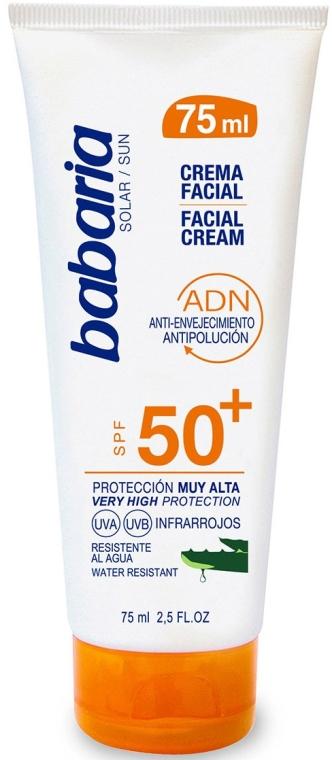 Aloesowy krem przeciwsłoneczny do twarzy SPF 50+ - Babaria Aloe Vera Facial Sun Cream — фото N1