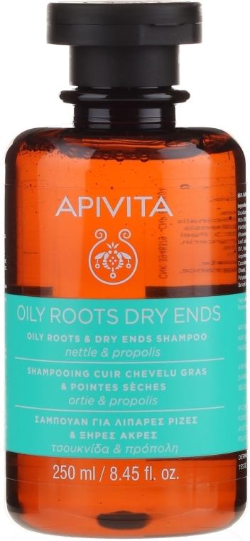 Normalizujący szampon do włosów Pokrzywa i propolis - Apivita Shampoo For Oily Roots And Dry Ends With Nettle & Propolis — фото N1