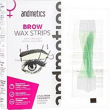 Kup Paski z woskiem do regulacji brwi - Andmetics Brow Wax Strips Women (strips 4 x 2 + strips 4 x 2 + 4 x wipes)