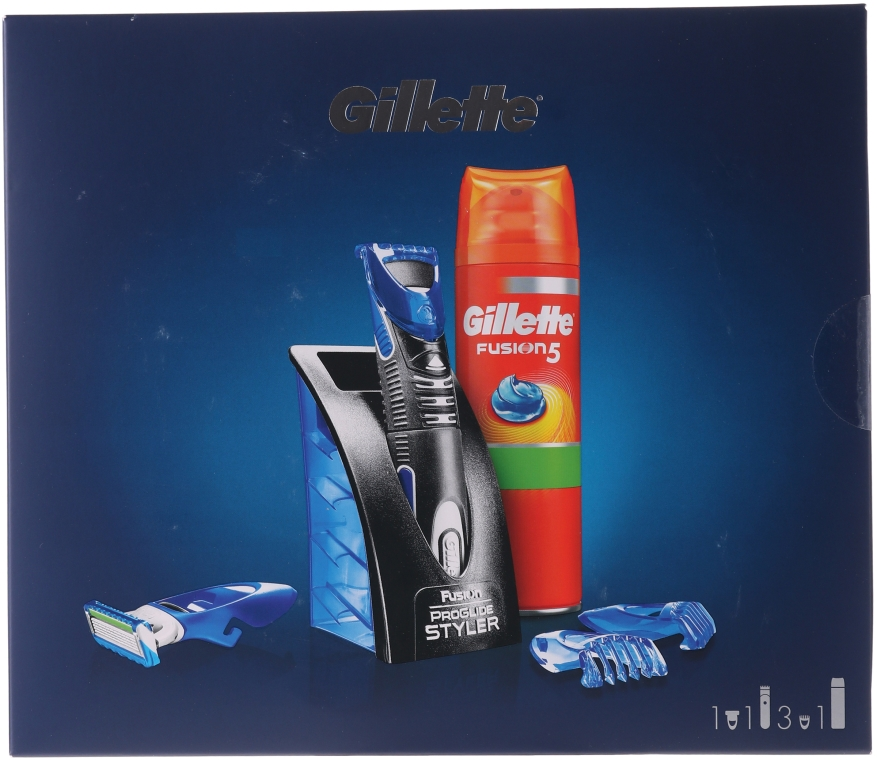 Zestaw - Gillette Fusion (gel 200 ml + trimmer + cartridge + 3 x cap)