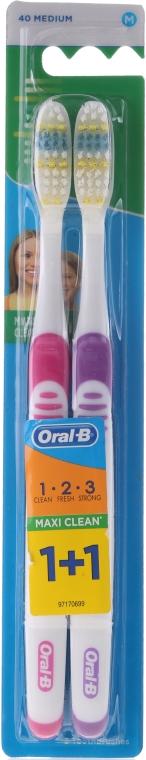 Szczoteczki do zębów, 40 średnia twardość, różowa + fioletowa - Oral-B 1 2 3 Maxi Clean 40 Medium 1+1 — фото N1