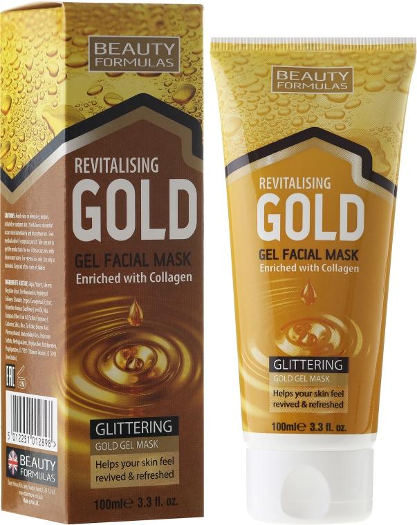 Rewitalizująca złota maseczka do twarzy z kolagenem - Beauty Formulas Revitalising Glittering Gold Gel Facial Mask