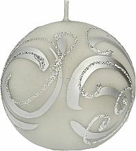 Kup Świeca dekoracyjna, kula szara z aplikacją, 10 cm - Artman Christmas Ornament