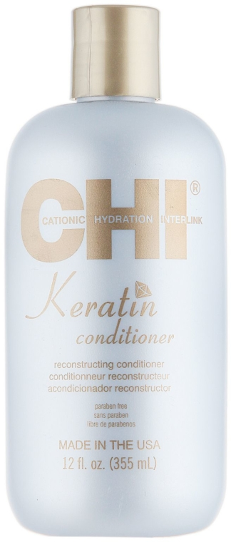 Odżywka z jedwabiem, olejem arganowym, jojoba i keratyną odbudowująca włosy - CHI Keratin Conditioner